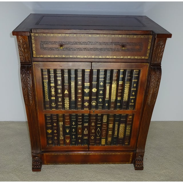 Traditional Maitland Smith Leather Faux Book Cabinet For Sale - Image 3 of 11