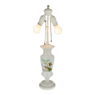 Vintage Hand Painted Opalescent Glass Table Lamp For Sale