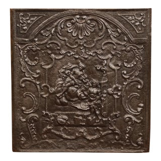 Large 18th Century French Louis XV Square Iron Fireback With Mythological Scene For Sale