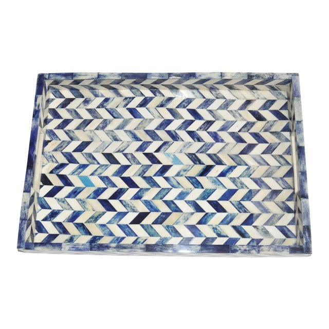 Susanna Chevron Bone Tray in Blue and Ivory For Sale In San Francisco - Image 6 of 6
