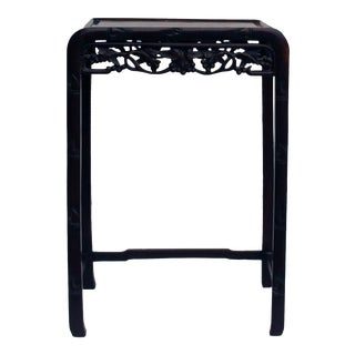 Chinese Huali Brown Relief Carving Plant Stand Pedestal Side Table For Sale