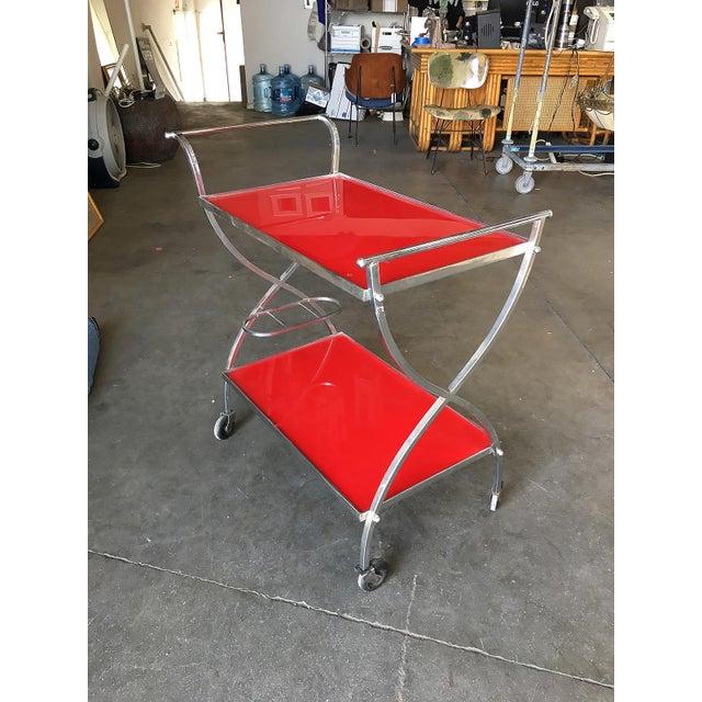 Mid-Century Modern Jacques Adnet Inspired Chromed Aluminum Bar Cart, 1960 For Sale - Image 3 of 7