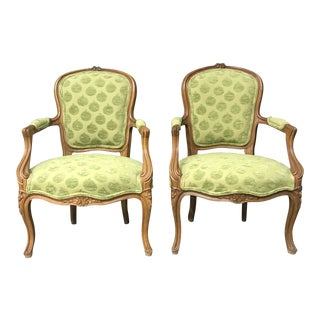 Pair of Green French Louis XVI Style Fauteuils For Sale