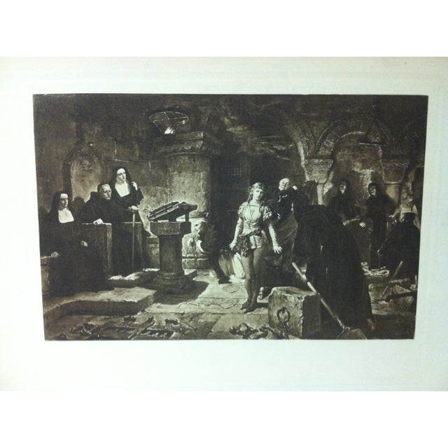 """This is a antique print on paper that is titled """"The Trial"""" - The Artist is Unknown. The print dates from around 1900 and..."""