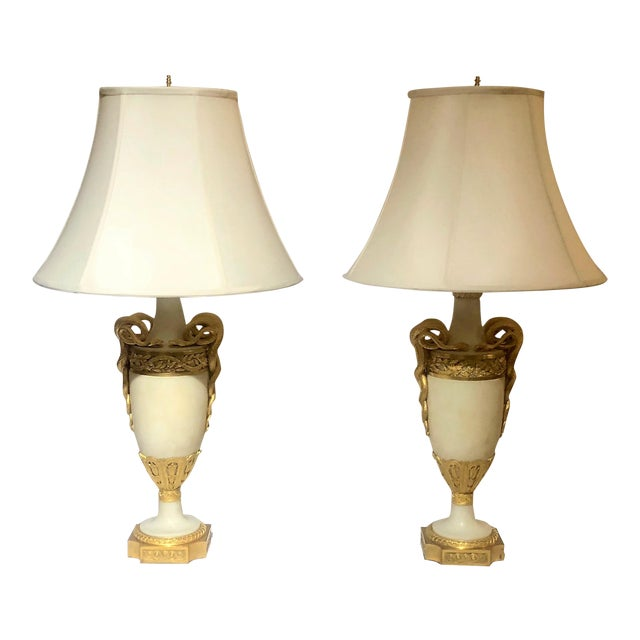Pair Antique Exceptional Louis XVI Marble and Ormolu Mounted Urn Lamps, Circa 1820-1830. For Sale
