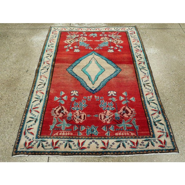 "Red Vintage Persian Mahal Rug - Size: 3' 8"" X 5' 1"" For Sale - Image 8 of 10"