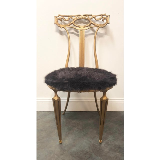 1950s Vintage Italian Neoclassical Style Gold Gilt Wrought Iron Accent Chair For Sale - Image 9 of 12