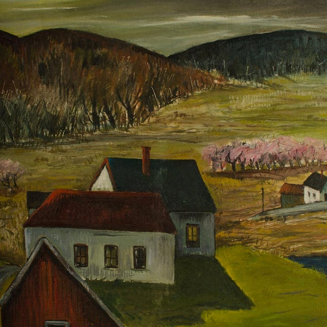 """Mid 20th Century """"Peach Orchard in the Valley"""" Landscape Oil Painting by Charles Harsanyi, Framed For Sale - Image 10 of 13"""