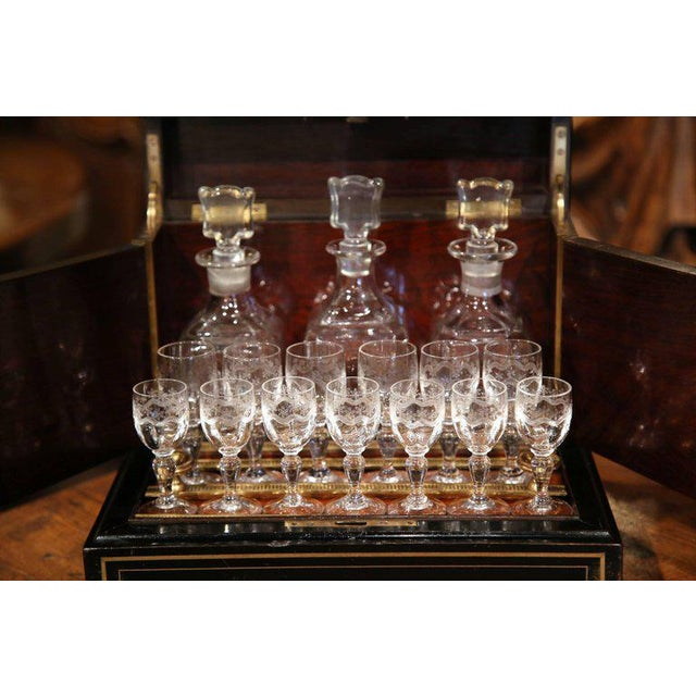 19th Century French Napoleon III Mahogany Cave à Liqueur With Bronze Inlay For Sale In Dallas - Image 6 of 7