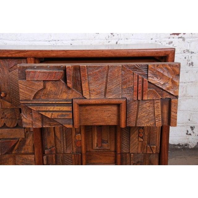 Lane Pueblo Brutalist Mid-Century Modern Oak Long Dresser or Credenza, 1970s For Sale - Image 9 of 13