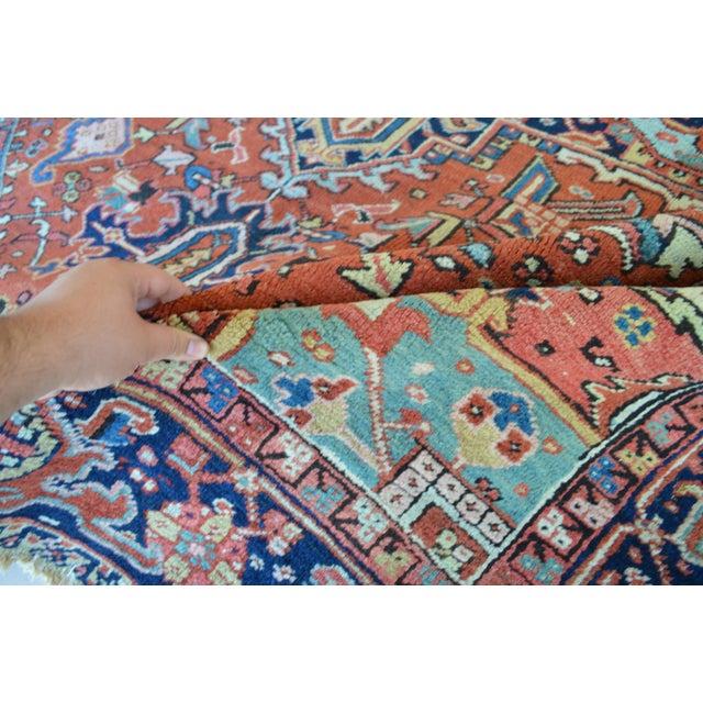 """Antique Persian Heriz Rug - 8'1"""" x 11'2"""" - Image 7 of 7"""