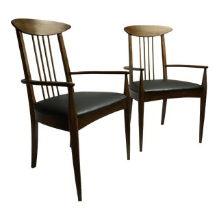 1960's Mid-Century Lenoir Furniture Co. Sculptra Arm Chairs - a Pair