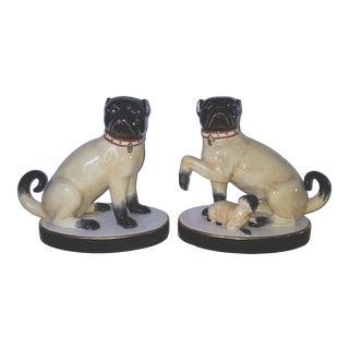 Vintage Chelsea House Porcelain Pug Figurines - a Pair For Sale