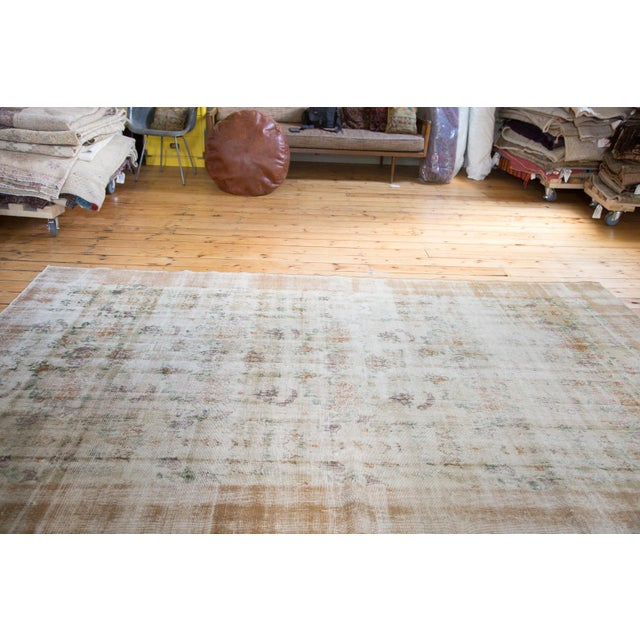 "60s Distressed Floral Oushak Rug - 6'3"" x 10'2"" For Sale - Image 4 of 7"