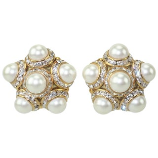 Faux Pearl and Rhinestone Vintage Clip on Earrings For Sale