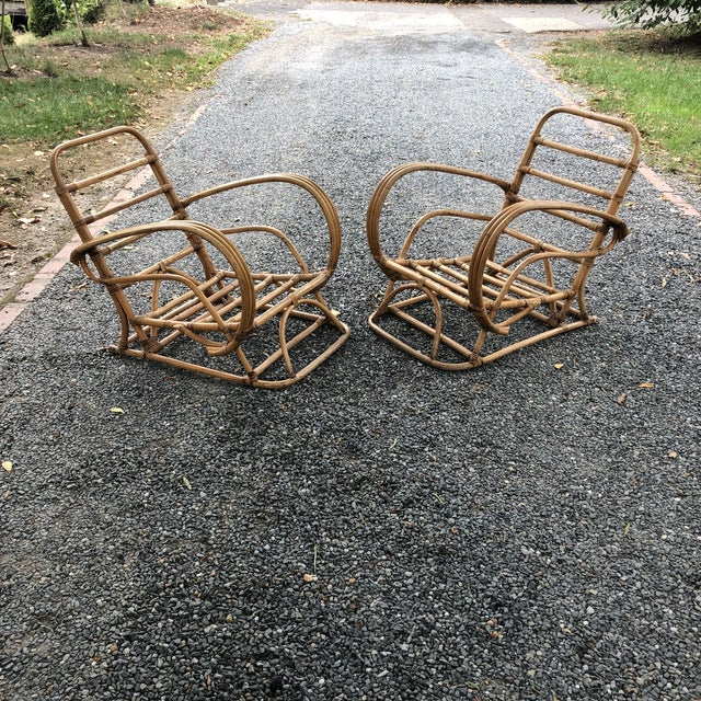 Vintage Rattan Frankl Style Pair Lounge Chairs - A Pair For Sale - Image 10 of 10