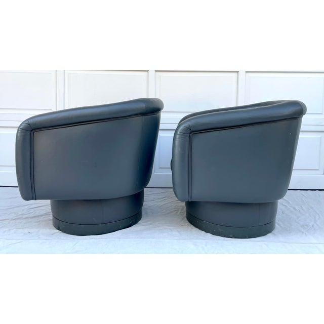 Postmodern Leon Rosen Style Swivel Tub Chairs - a Pair For Sale - Image 10 of 13