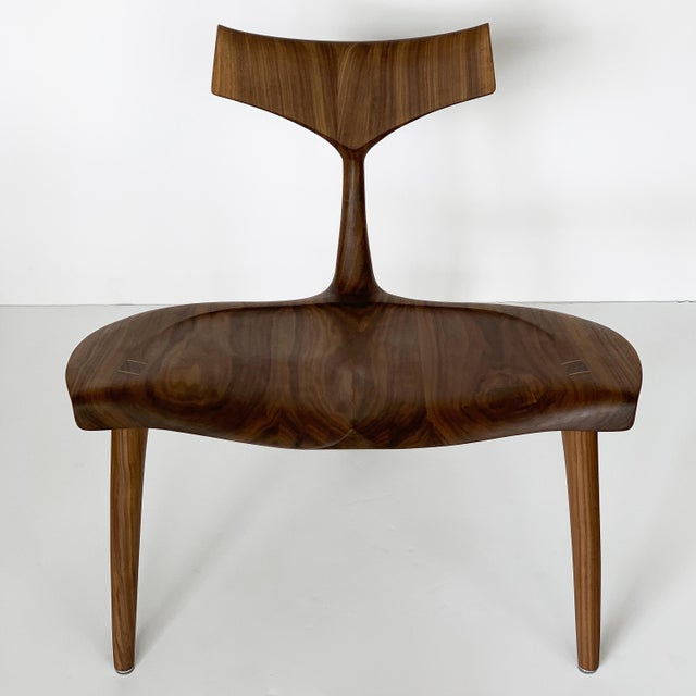 "Contemporary Sculptural Walnut ""Whale"" Chair Morten Stenbaek For Sale - Image 3 of 13"