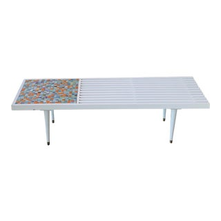 1960s Mid-Century Mosaic Slatted Bench With Brass Ferrules For Sale