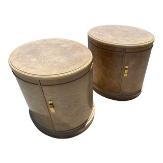 20th Century Drexel Heritage Drum Nightstands - a Pair For Sale