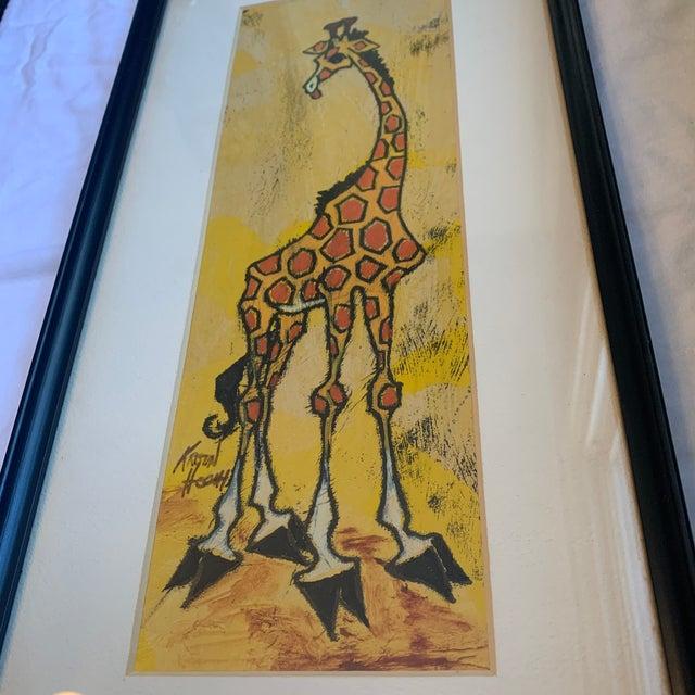 Children's Mid 20th Century Giraffe Painting, Framed For Sale - Image 3 of 7