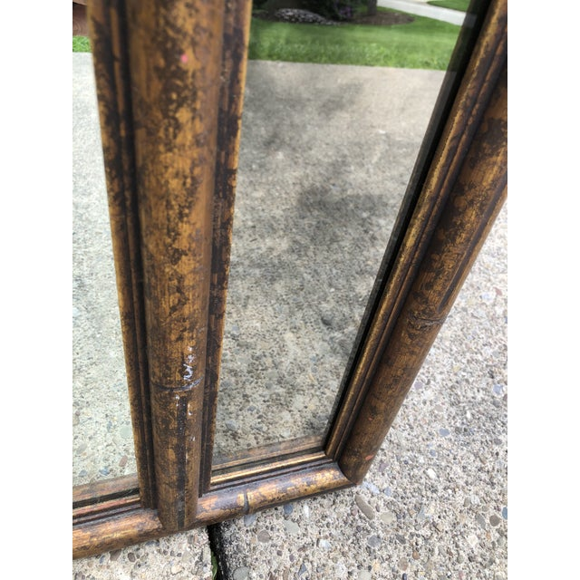 """Gold Large 48"""" Chinoiserie Gold Faux Bamboo Mirror W Surrounding Smoked Mirrors-See Pictures For Sale - Image 8 of 10"""