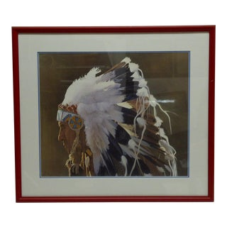 "Framed & Matted Print ""Indian Chief"" For Sale"