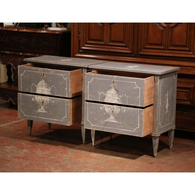 Pair of Early 20th Century French Louis Philippe Painted Nightstands or Commodes For Sale In Dallas - Image 6 of 11