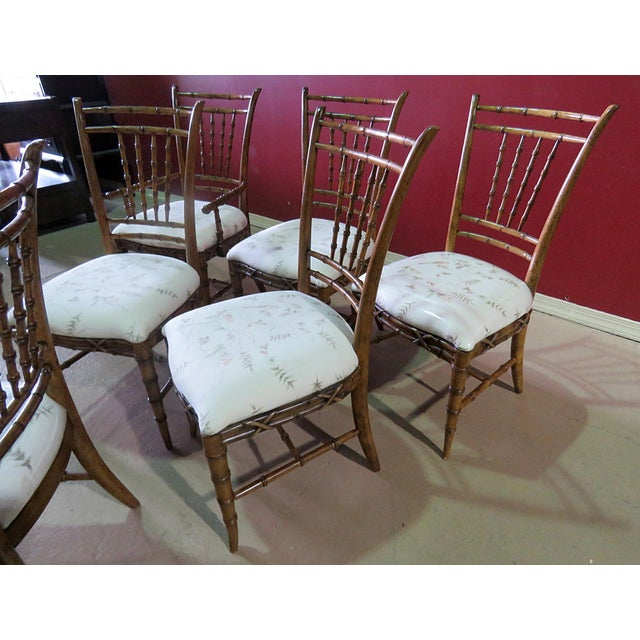 Textile Mid Century Faux Bamboo Dining Chairs - Set of 6 For Sale - Image 7 of 10