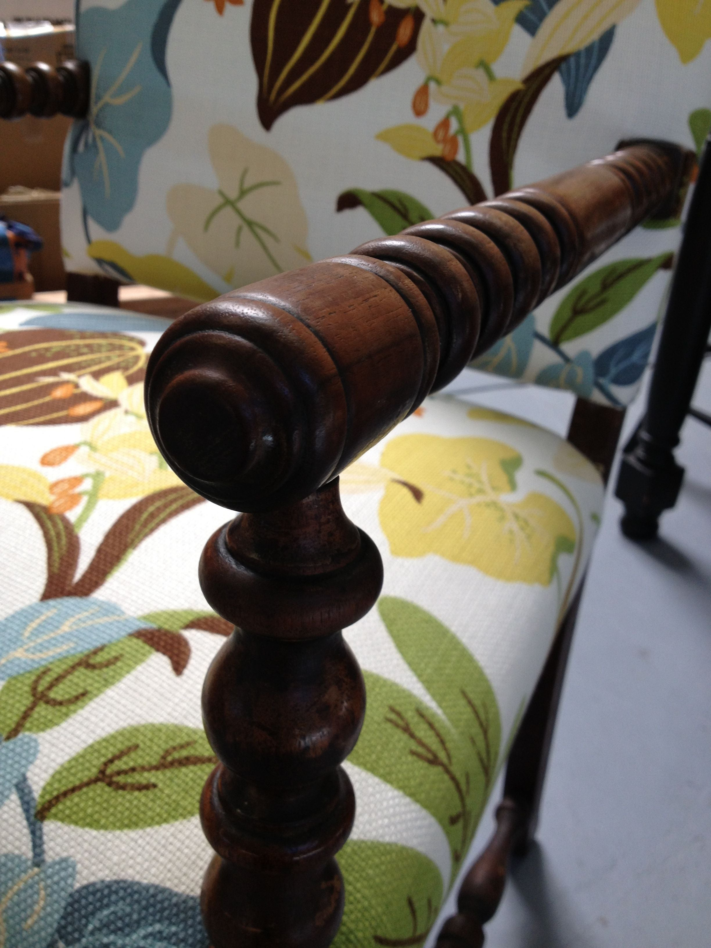 Floral Spindle Leg Chair For Sale   Image 4 Of 4