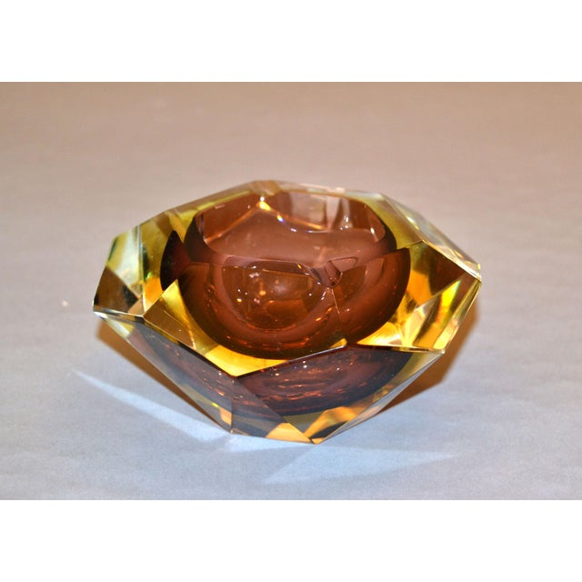 Signed Multi Faceted Murano Glass Ashtray Attributed to Flavio Poli, Italy For Sale - Image 11 of 12