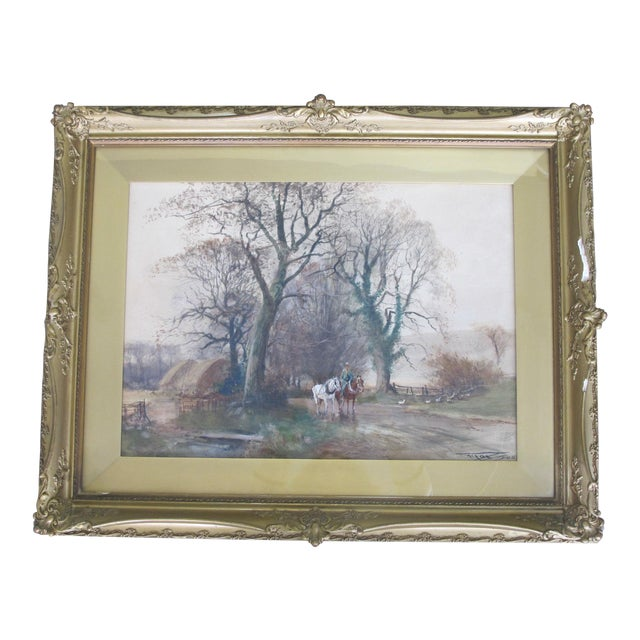 Antique English Landscape Equestrian Watercolor Painting by Charles Henry Fox For Sale