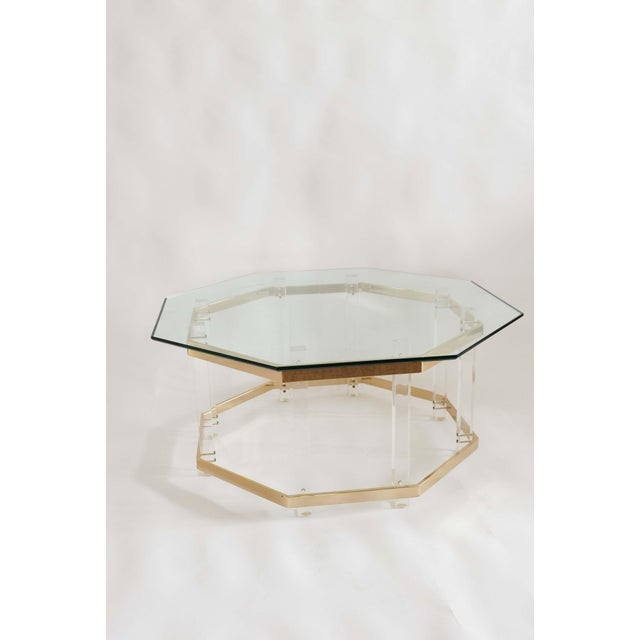 Gold 1960s Art Deco Charles Hollis Jones Brass and Lucite Octagonal Coffee Table For Sale - Image 8 of 10
