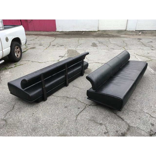 Italian Black Leather Sofas With Floating Back - a Pair For Sale - Image 12 of 13