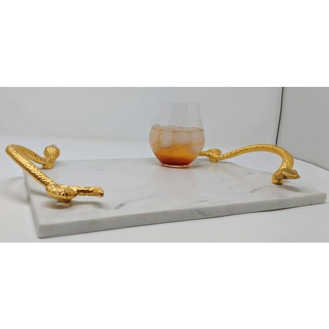 Early 21st Century White Marble Tray With Gold Snake Handles For Sale - Image 5 of 10
