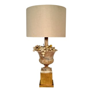 1950s Large Marble Lamp W/Grapes For Sale