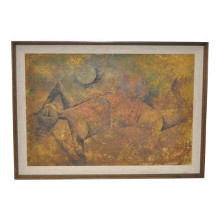 Reclining Figure Mid Century Modern Cubist Painting Circa 1950s For Sale