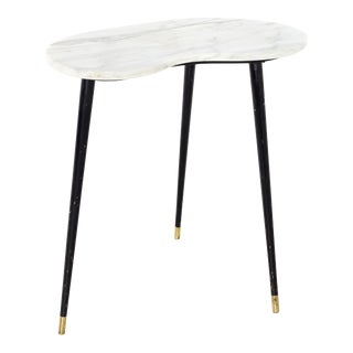 1960s Italian Carrera Marble Kidney Side Table For Sale