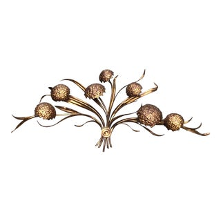 Mid Century Metal Flower Wall Hanging Sculpture For Sale