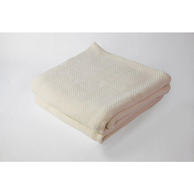 2010s Contemporary Natural Full/Queen Herringbone Blanket For Sale - Image 5 of 5