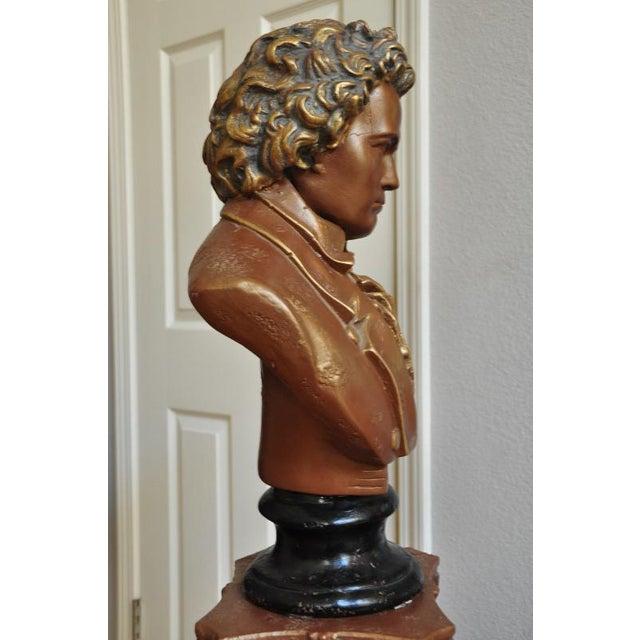Brass Antique Ceramic Bust Sculpture of Beethoven on a Ceramic Pedestal For Sale - Image 7 of 8