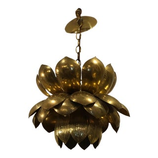 1970s Large Mid-Century Modern Brass Lotus Flower Chandelier Pendant For Sale