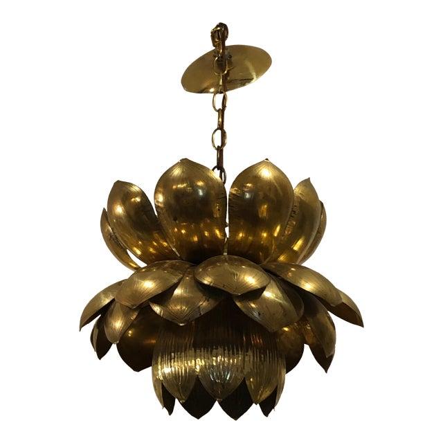 1970s Large Mid-Century Modern Brass Lotus Flower Chandelier Pendant For Sale