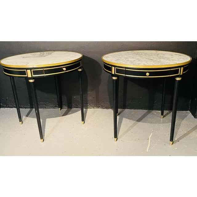 Pair of Maison Jansen Style Bouillotte or End Tables, Ebony Bronze Marble Top For Sale - Image 9 of 13