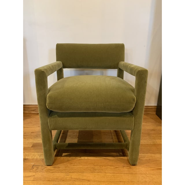 Green Late 20th Century Baughman Style Armchairs- A Pair For Sale - Image 8 of 9