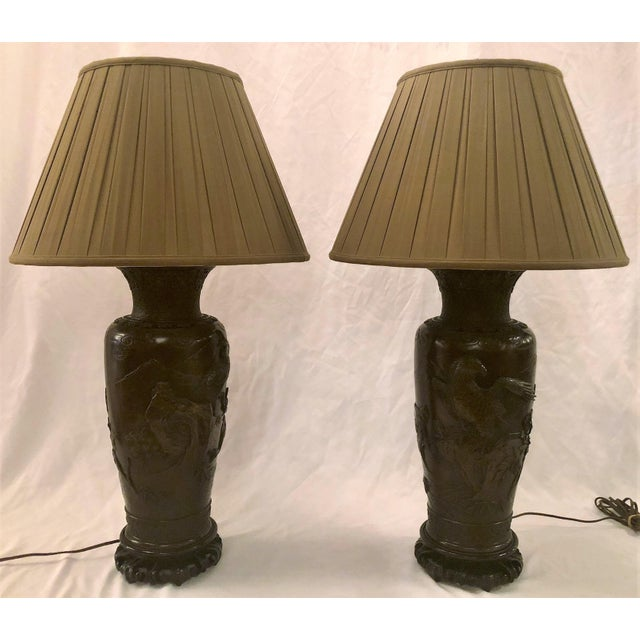 Pair Antique Japanese Bronze Urns Made Into Lamps, Circa 1900-1910. For Sale In New Orleans - Image 6 of 6