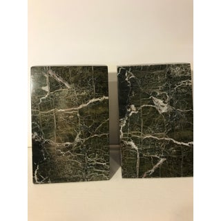 Angled Green Marble Bookends - a Pair Preview