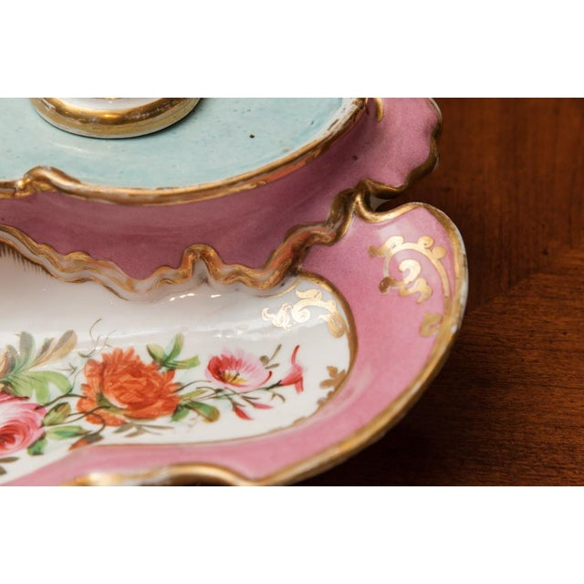 French 19th Century French Porcelain Inkstand With Ink Pot and Sander For Sale - Image 3 of 6