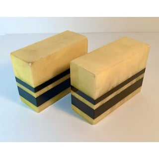 Art Deco Alabaster Marble Block Book Ends With Black Stripe - a Pair Preview