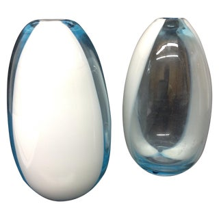 A Fasce Verticale Murano Glass Vases - Pair For Sale